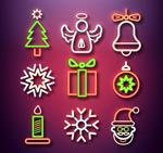 彩色圣诞元素图标