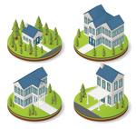 蓝色屋顶房屋