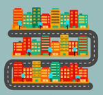 彩色城市地图