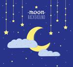 夜晚星星和月亮