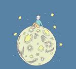 坐在月球上的男子