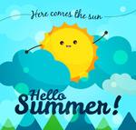 夏季云中的太阳