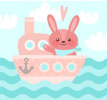 卡通坐船的兔子