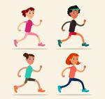 卡通跑步女子