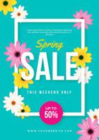 春季花朵促销海报