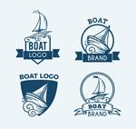 手绘蓝色船舶标志