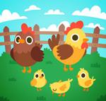 卡通鸡家庭矢量