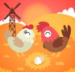 卡通公鸡和母鸡