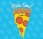 卡通表情三角披萨