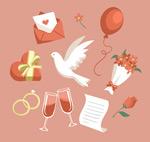 红色婚礼元素