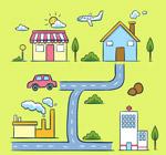 彩绘房屋街道地图