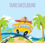 沙滩度假车插画