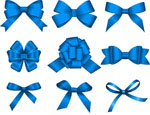 蓝色蝴蝶结矢量