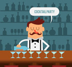 卡通红鼻子调酒师