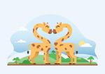 可爱长颈鹿情侣