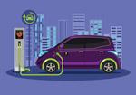 电动汽车充电插画
