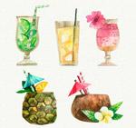 水彩绘夏季饮料
