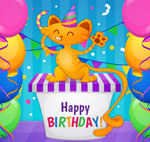 生日礼盒上的猫咪