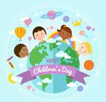儿童节地球和孩子