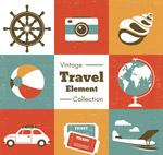 复古旅行元素图标