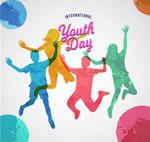 青年节跳跃人物