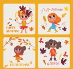 秋季女孩卡片