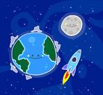 笑脸地球和火箭