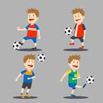 踢足球的卡通男孩