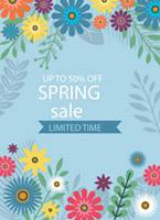 春季花纹促销海报