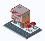 立体餐馆建筑