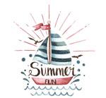 夏季帆船艺术字