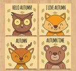 秋季微笑动物卡片