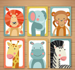 动物半身像卡片