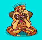 吃披萨的巴哥犬