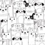 卡通狗图案矢量