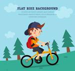 骑单车上学的男孩