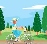 公园骑单车的女子
