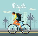 骑单车健身的男子
