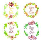 水彩绘婚礼花环