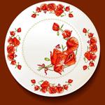 罂粟花花纹餐盘