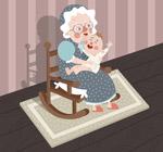 怀抱婴儿的老妇