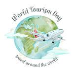 水彩绘世界旅游日