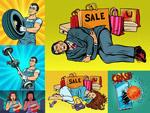 购物袋与人物插画