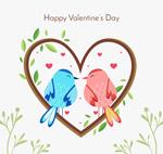 爱心情侣鸟矢量