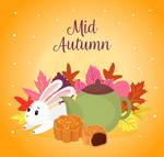 彩色中秋节兔子