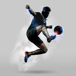 跳跃足球运动员