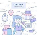 购物女孩插画