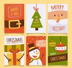 扁平化圣诞卡片
