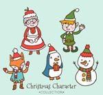 手绘圣诞角色矢量