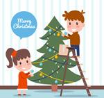 装扮圣诞树的儿童